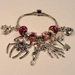 Jewelry - Pink Charm Bracelet 13 Spiders Bats Witch Skeleton